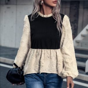 Two tone puffy sleeve and fuzzy top